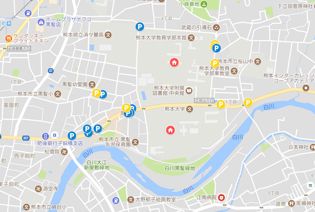 熊本大学(黒髪キャンパス)周辺の駐車場