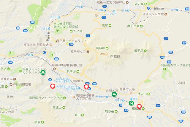 阿蘇の三大桜スポットマップ