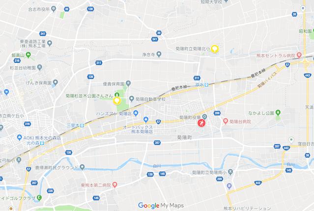 菊陽町のお花見スポットマップ