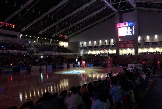 松江市総合体育館アウェイ選手入場